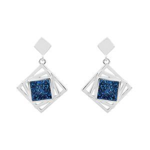 Sterling Silver Geometric Blue Agate Earrings